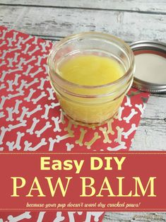 This inexpensive and easy DIY Paw Balm recipe will help moisturize your dog's paws to keep them soft, supple, and protect from cracks. Diy Dog Treats, Homemade Dog Treats, Dog Treat Recipes, Dog Care Tips, Pet Tips, Dog Paws, Pet Health, The Balm, Easy Diy