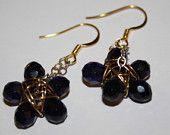 Deep BLUE droplet beads hook drop dangling Earring with wire wrapping
