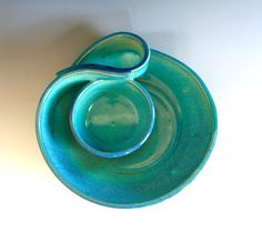 Small Chip and Dip Dish Veggie Dip handmade ceramic by ocpottery, $ 65.00 >> What a beautiful color!