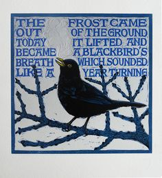 Colin Blanchard artist and printmaker - 'March Blackbird' Linocut with embossing - Edition of 10 on 410 gsm Somerset paper - 20 x 24 cm