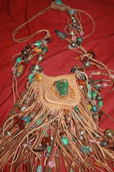 showdiva designs Medicine Bag Belt Necklace Turquiose and STERLING n TONS Fringe n Beads Galore by showdiva on Etsy Boho Hippie, Boho Gypsy, Hippie Purse, Hippie Bags, Mojo Bags, Hippy Chic, Boho Chic, Medicine Bag, Beaded Purses