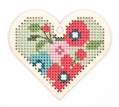Collection Made by me by Rico Design Complete Kit: wood pendant, cotton FLOSS, needle and instructions. Here is a lovely embroidery kit to create a pendant, Keychain, a room decoration. Cross Stitch Heart, Cross Stitch Cards, Cross Stitch Embroidery, Cross Stitch Patterns, Crochet Supplies, Knitting Supplies, Kit, Wood Crosses, Flower Pillow