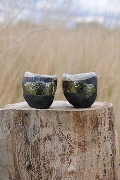 Guinomi Bowl Sake Cup Set of Two Handmade one of a kind
