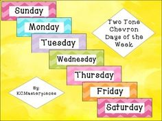 Fun Two Tone Chevron Days of the Week signs perfect for your calendar time! Just print, cut, and laminate! Both PDF (to print as is) and PNG (to size to your liking) are included!