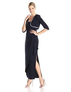 Alex Evenings Womens Side Ruched Bolero Jacket Gown with Beaded Neckline Deep Navy 6 -- For more information, visit image link-affiliate link.