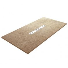 Privilege designer ultra-slim 20mm shower tray in Nature Cappuccino colour with textured Slate Tile effect surface finish and central unpainted stainless steel linear waste