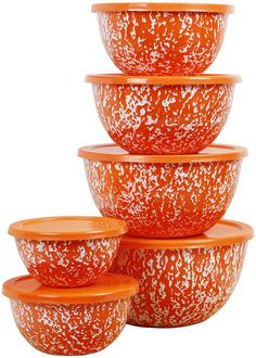 Shop for Calypso Basics by Reston Lloyd Marble 12 Piece Enamel on Steel Bowl Set, Orange. Get free delivery On EVERYTHING* Overstock - Your Online Kitchen & Dining Outlet Store! Orange Kitchen Decor, Enamel Cookware, Kitchenware, Tableware, Steel Rims, Marble Effect, Mixing Bowls, Serving Dishes, Kitchen Accessories