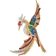 Preowned Boucher Phoenix Brooch ($950) ❤ liked on Polyvore featuring jewelry, brooches, brooch, multiple, rhinestone jewelry, vintage rhinestone jewelry, pre owned jewelry, vintage pins brooches and vintage costume jewelry