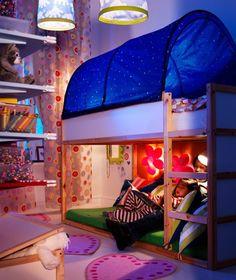 Ikea Kids Room - Kura Reversible Loft Bed with Canopy. Love how low the bunk beds are. Bedroom Ideas For Teen Girls, Girls Bedroom, Bedroom Decor, Ikea Bedroom, Bedroom Furniture, Modern Bedroom, Furniture Plans, Tent Bedroom, Kids Furniture