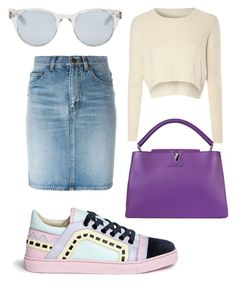 """"" by muscateguim on Polyvore featuring moda, Sophia Webster, Yves Saint Laurent, Glamorous, Louis Vuitton y Sun Buddies"