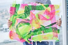 hello, Wonderful - EASY CREPE PAPER CANVAS ART WITH KIDS