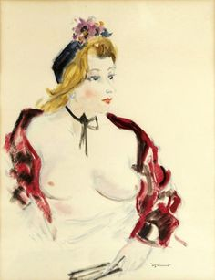 DIGNIMONT André (1891-1965) Nude Woman Bust in red shawl Watercolor hides