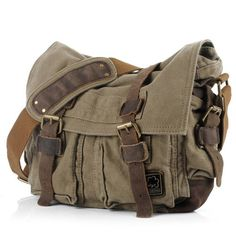 "Men's Trendy ""Colonial"" Italian Style Messenger Bag with Leather Straps - Army Green"