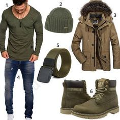 Grünes Herrenoutfit mit Longsleeve, Boots und Parka (m0698) #outfit #style #herrenmode #männermode #fashion #menswear #herren #männer #mode #menstyle #mensfashion #menswear #inspiration #cloth #ootd #herrenoutfit #männeroutfit