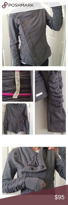 lululemon athletica solace asymmetric jacket Later this jacket over your yoga gear to keep warm throughout your busy day. Our own blend of breathable cotton French terry with stretch so it won't bag out. Thumb holes for keeping hands warm and sleeves in place. Flat seamed for chafe resistance and comfort. Preshrunk. Worn just once. Like new. lululemon athletica Jackets & Coats