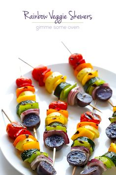 Aren't these just about the most fun skewers you've ever seen? Yum! Rainbow Veggie Skewers | Gimme Some Oven