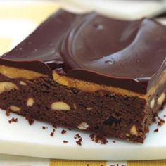 Peanut-studded brownies, peanut butter frosting, chocolate ganache...what better way to savor the PB-chocolate combo?