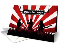 Party like a rock star birthday card with silhouette audience, musicians, and sunburst background. Wonderful card for the rock star in your life. greetingcarduniverse.com/jjbdesigns  #greetingcard #greetingcarduniverse #greeting #card