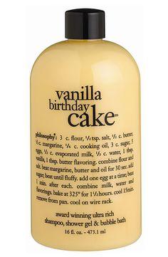 Yummy Philosophy 'Vanilla Birthday Cake' shampoo, shower gel, and bubble bath!