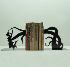 Just fantastic- Tentacle Attack Metal Art Bookends Free USA by KnobCreekMetalArts, $64.99