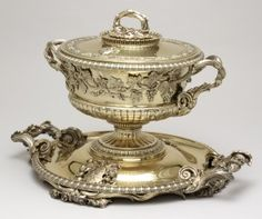 Tureen, stand, and liner, Rundell, Bridge  Rundell, London, England; 1828‒29, Gilt silver, Campbell Collection of Soup Tureens at Winterthur