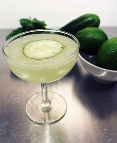 (cucumber/gin) Eastside Cocktail:  2 ounces gin  1 ounce fresh lime juice 3/4 ounces simple syrup Muddled cucumber and mint cucumber slice Directions:  Add several mint leaves (no stems) and several cucumber slices into a shaker tin, along with the lime and simple syrup, then muddle for several seconds.  Add the gin and a generous amount of ice. Shake vigorously and strain with a Hawthorn strainer into a chilled coupe and garnish with a thin cucumber slice