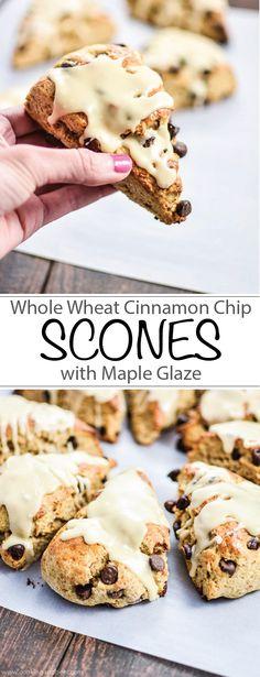 Whole Wheat Cinnamon Chocolate Chip Scones with Maple Glaze   www.cookingandbeer.com   @jalanesulia
