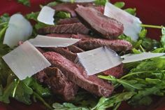 """Point-less"" Meals: Grilled Steak with Baby Arugula and Parmesan Salad..."