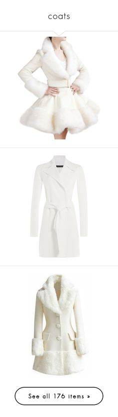 """""""coats"""" by bluekiller2002 ❤ liked on Polyvore featuring outerwear, coats, white fake fur coat, wool blend trench coat, victorian coat, white coat, victorian trench coat, coats & jackets, jackets and casacos"""