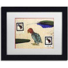 Trademark Fine Art 'Katin Parrot' Canvas Art by Nick Bantock, White Matte, Black Frame, Size: 11 x 14, Assorted