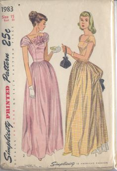 Vintage 40s Bustle Evening Gown Pattern B 33 by WearingHistory, $30.00