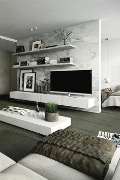 salon gris, aménagement gris, mur gris, salon confortable, plafond blanc, étagère design moderne