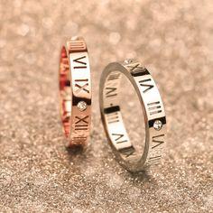 Luxury Celebrity Roman Numerals Promise Rings