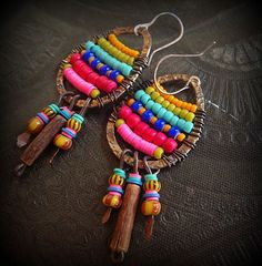 Sterling Oxidized Hoops, Glass, Vinyl and African Beaded Earrings