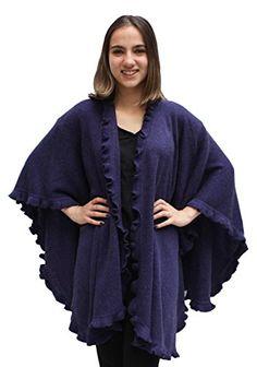 Womens Baby Alpaca Wool Blend Ruffle Trim Ruana Poncho Cape Shawl Wrap (Purple) *** See this great product.