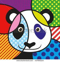 POP ART PANDA hipster bear VECTOR for your Design