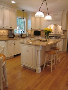 I am pinning yet another white/glazed white kitchen with light granite, molding/beadboard and ORB hardware. I think I'm finally realizing that this is what I need to do! Note ORB faucet to complete look...just wouldn't look right with a chrome or nickel faucet. I don't love the overly decorative tile backsplash though...simplify.