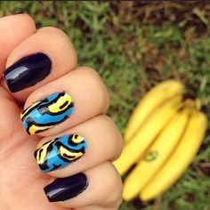 Cool banana nail design!