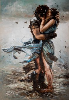 Warrior Lover Original Fine Art Painting by Maria Magdalena Oosthuizen. Medium: Acrylic on Canvas. Stretched, and Blocked, Not Framed. Couple Painting, Couple Art, Love Painting, Couple Drawings, Art Drawings, Romance Arte, Illustration Art Dessin, Romantic Artwork, Romantic Drawing