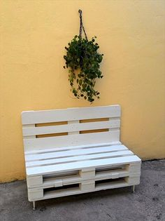 White Painted Pallet Bench with Short Metal Legs - 130+ Inspired Wood Pallet Projects   101 Pallet Ideas - Part 2