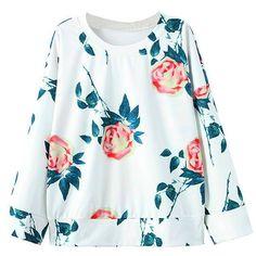 Yoins Yoins Floral Print Sweatshirt (€15) ❤ liked on Polyvore featuring tops, hoodies, sweatshirts, shirts & tops, white, long sleeve sweatshirt, white top, floral shirt, white sweatshirt and floral top