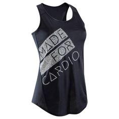42bfcbb41a098 Camiseta sin mangas cardio fitness mujer negro estampado 120. Decathlon.  Deportes ...