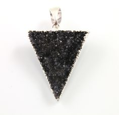 Dazzling Druzy Triangle Pendant in Stunning Earth Tones, Silver Plated, 27x37mm, A+ Gorgeous Quality, Electroplated Edge (SS-DZY/TRI/125) by Beadspoint on Etsy