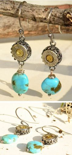 ~ Living a Beautiful Life ~ 9mm Turquoise Bullet Earrings ♡