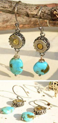 9mm Turquoise Bullet Earrings <3
