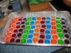 Did somebody say Jell-O.... SHOTS!!??? All you need to do is follow the recipe on the back of the jell-o box, and substitute the cold water for your favorite light alcohol!!!