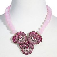 NEW Heidi Daus Pleasing Pansy Rose Pink Swarovski Crystal Floral Drop Necklace
