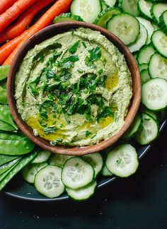 Supercreamy and light, this green goddess hummus is packed with tons of fresh herbs including parsley, tarragon, and chives to increase the flavor without adding unnecessary calories.