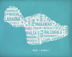 Maui Map Print   11x14 in by ajohnstondesign on Etsy