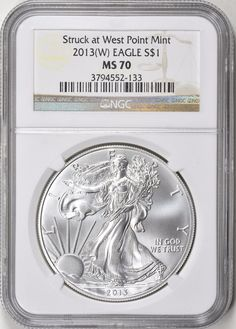 2013-(W) $1 Silver Eagle (Struck at West Point) NGC MS-70 Silver Eagle Coins, Silver Eagles, Bullion Coins, Silver Bullion, In God We Trust, Personalized Items, Ebay